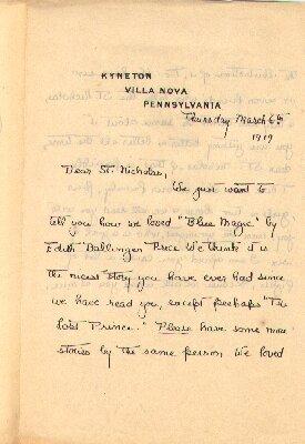 Fan letter to St. Nicholas