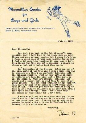 Letter from Doris Patee of Macmillan
